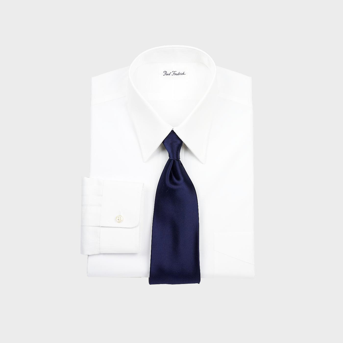 Paul Fredrick Men's Luxury Cotton Straight Collar Button Cuff Dress Shirt