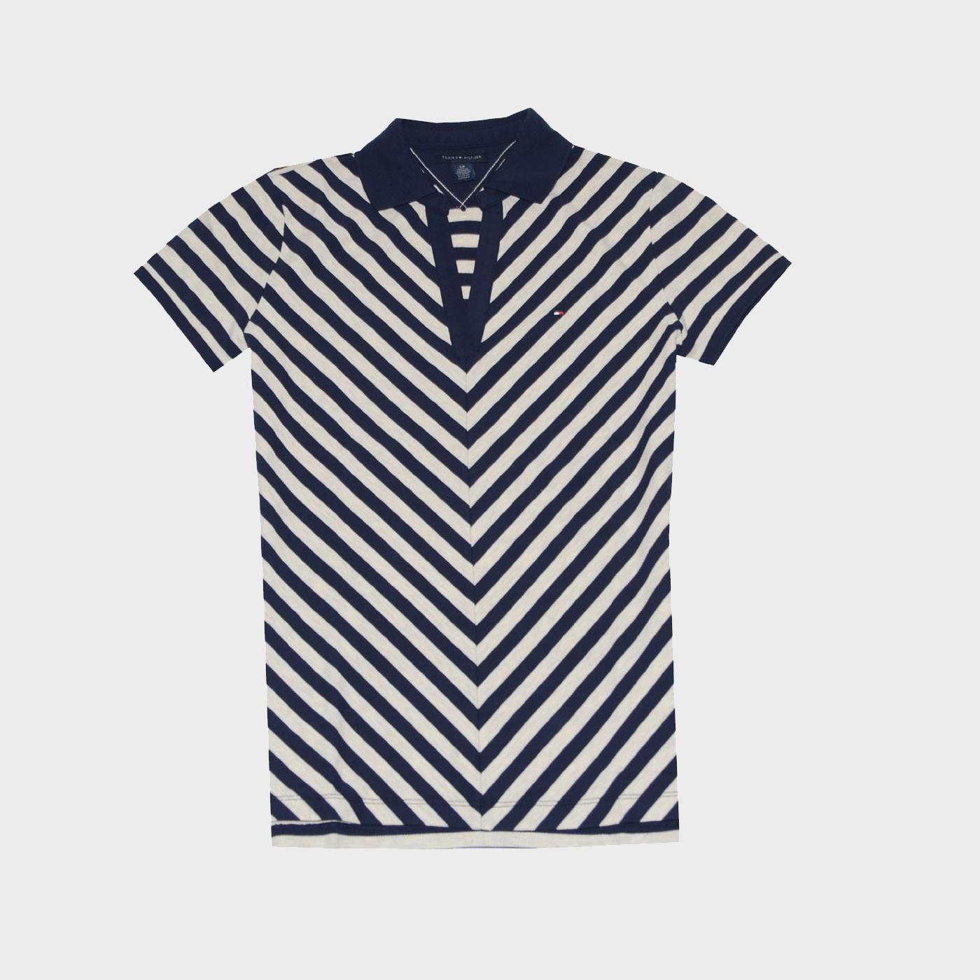 Tommy Hilfiger Women Chevron Stripe V-Neck Polo T-shirt