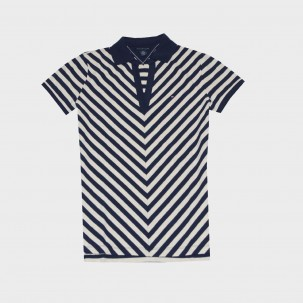 Tommy Hilfiger Women Chevron Stripe V-Neck Polo T-shirt