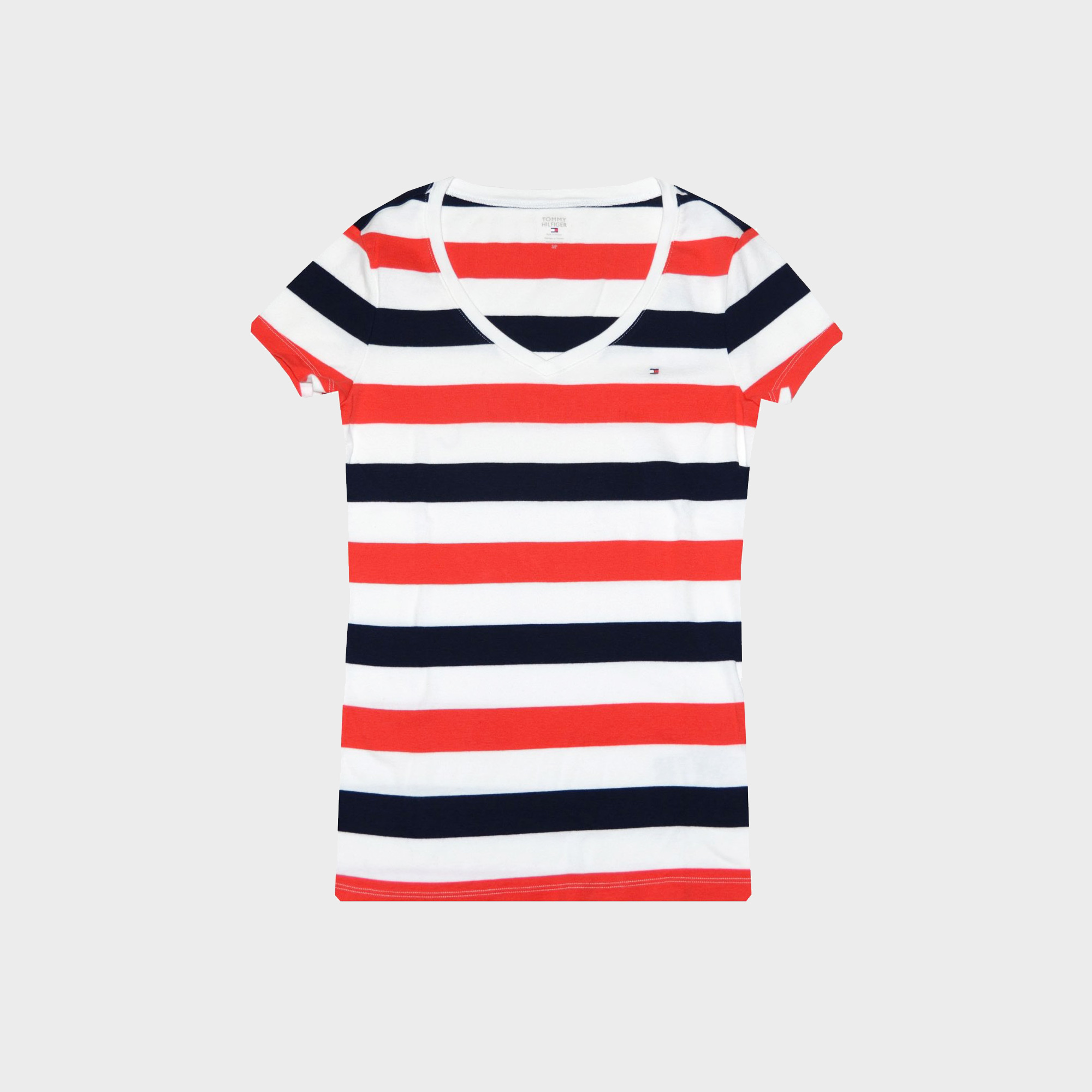 Tommy Hilfiger Women's Stripe V-Neck Logo T-Shirt