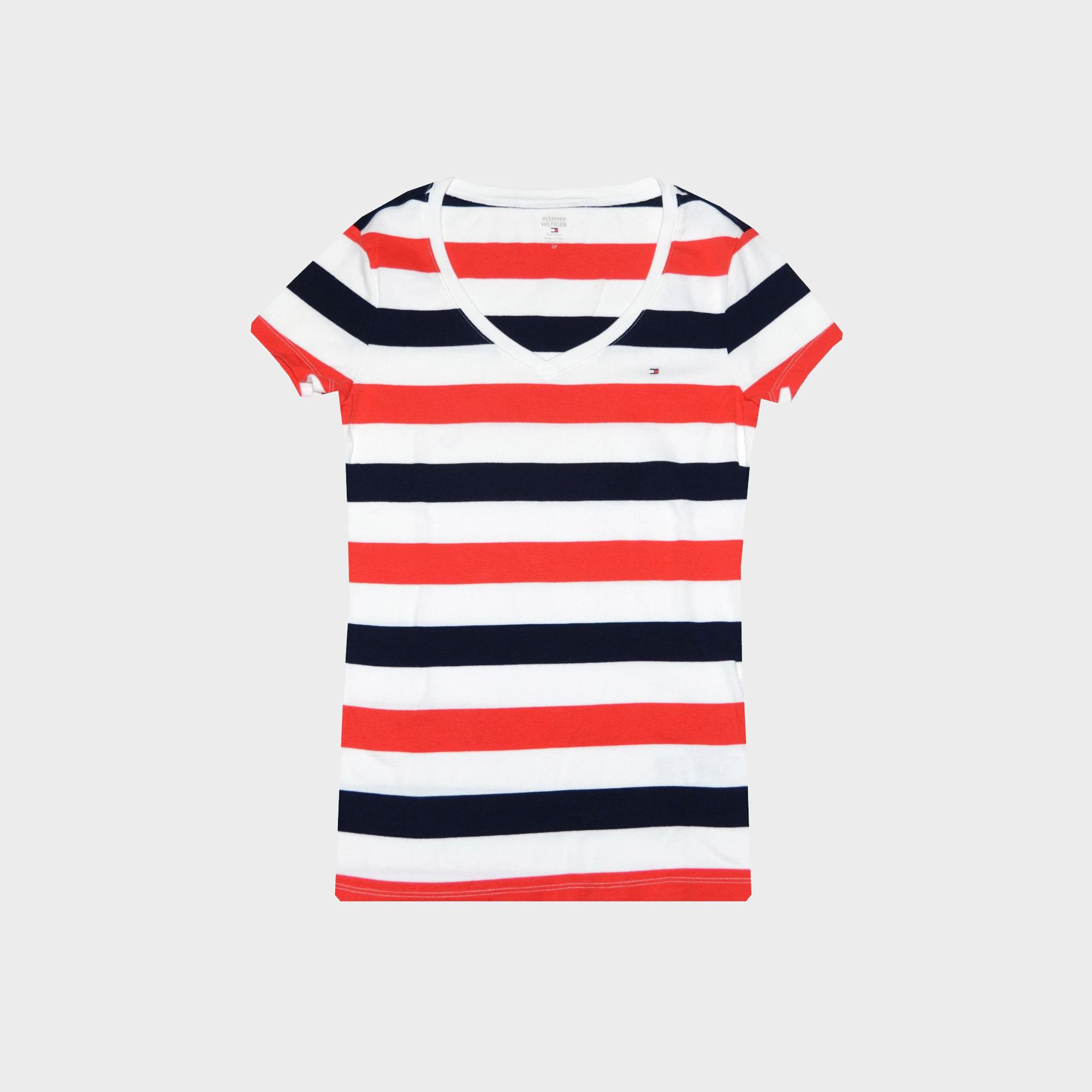 Tommy Hilfiger Women's Stripe V-Neck Logo T-Shirt