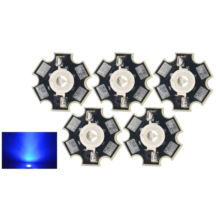 Šviesos diodas 3W mėlynas 120° su padu