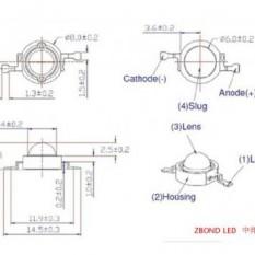 Šviesos diodas 3W raudonas 120° su padu