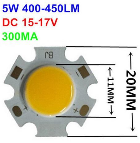Šviesos diodas COB 5W, 20mm