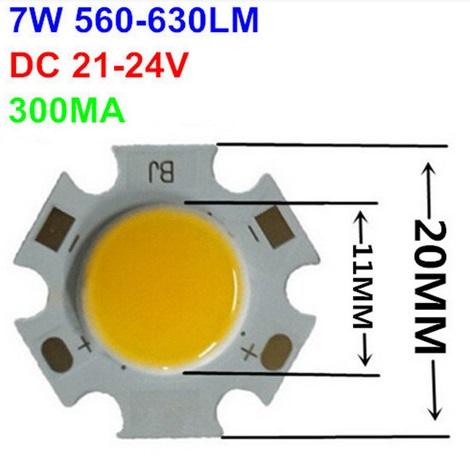 Šviesos diodas COB 7W, 20mm