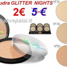 "Blizgi Kompaktinė Veido Pudra ""GLITTER NIGHTS"" 12g"
