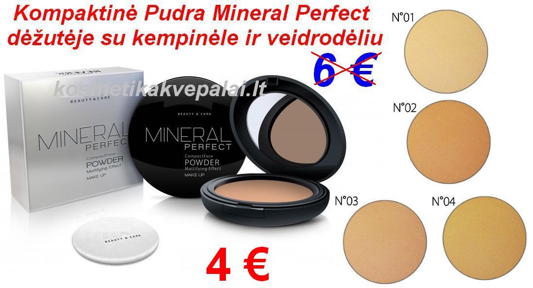 Kompaktinė Pudra Mineral Perfect dėžutėje 8g su kempinėle ir veidrodėliu