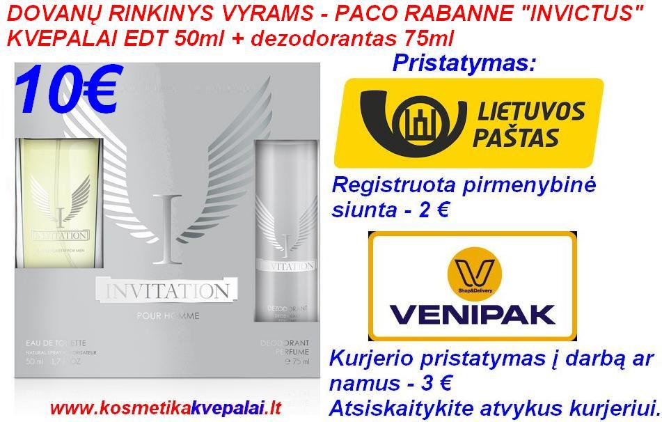 """DOVANŲ RINKINYS VYRAMS PACO RABANNE """"INVICTUS"""" 50ml Kvepalai+75ml dezodorantas (analogas)"""