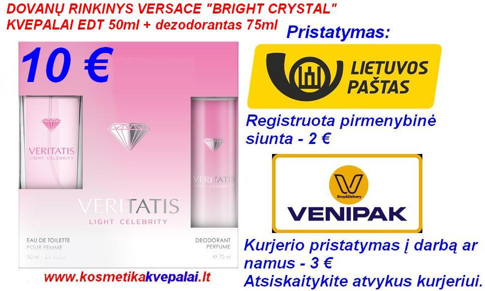 """DOVANŲ RINKINYS MOTERIMS VERSACE """"BRIGHT CRYSTAL"""" 50ml Kvepalai+75ml dezodorantas (analogas)"""