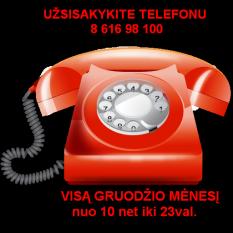 1.3 UŽSISAKYKITE TELEFONU 8 616 98 100. VISĄ GRUODŽIO MĖNESĮ nuo 10 iki 23 val. ir SAVAITGALIAIS