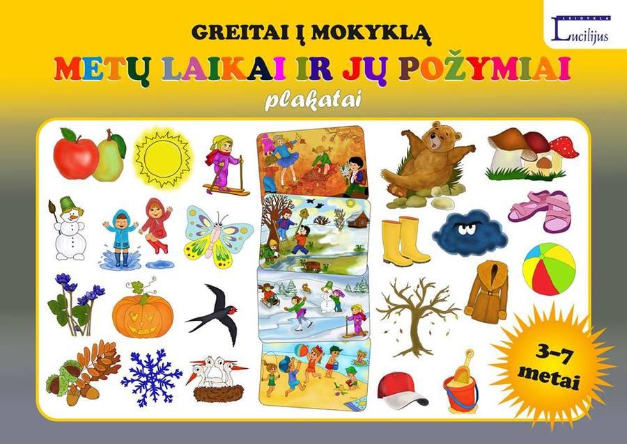 Plakatai 3-7 metų vaikams + metų laikų ratelis