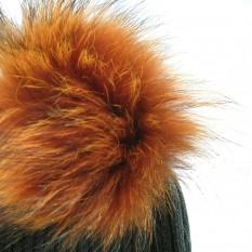 Vilnonė kepurė mod.50A ruda su natūralaus kailio bumbulu