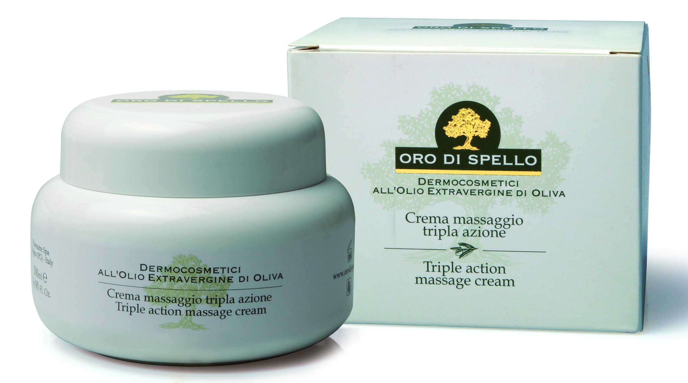 "Trigubo poveikio kūno kremas ""Triple action massage cream"" ORO DI SPELLO, 500 ml"