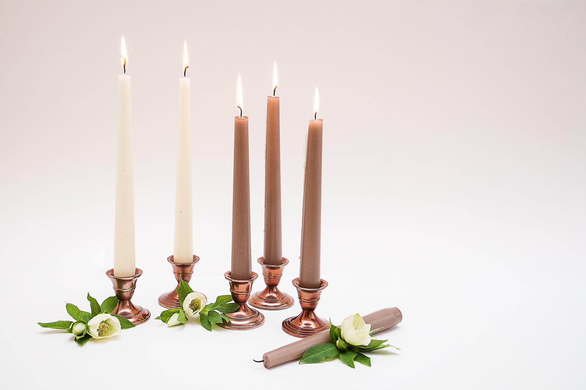 Vario spalvos  (Rose gold) žema žvakidė ilgai žvakei (Ž-24)