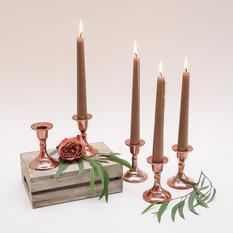 Vario spalvos (rose gold) neaukšta žvakidė siaurai žvakei (Ž-25)