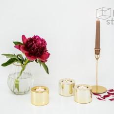 Itin blizgi aukso spalvos žvakidė (apvali) (Ž-36)