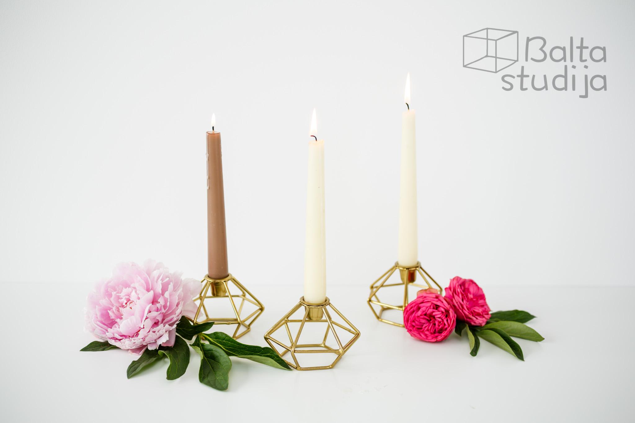 Geometrinė žvakidė siaurai žvakei (aukso ir vario spalvų) Ž - 39