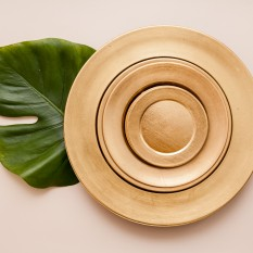 Aukso spalvos plastikinė lėkštė serviravimui (In - 14)