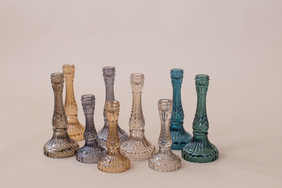 Įvairių spalvų raižyto stiklo žvakidės (Ž-53)