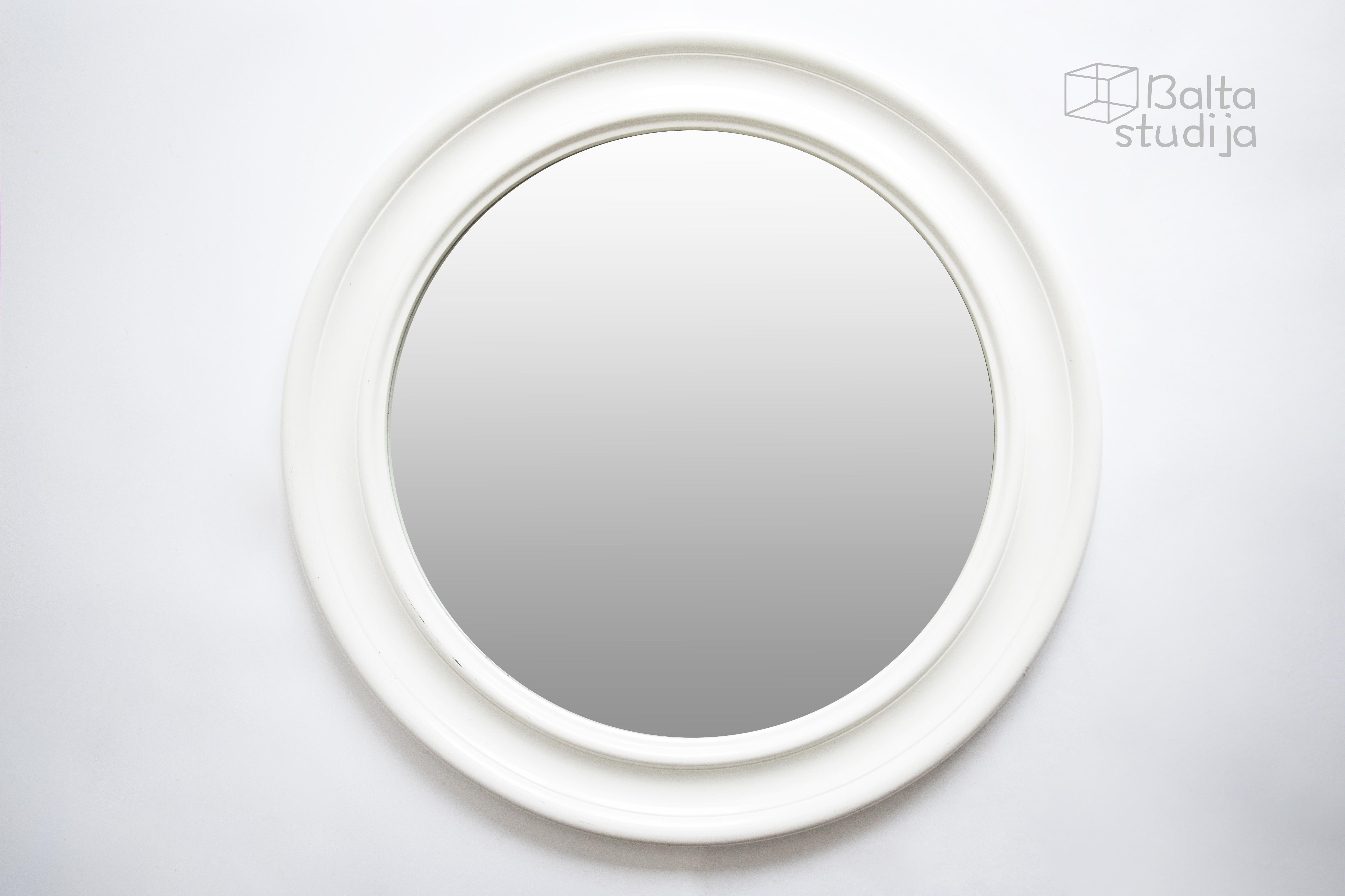 Didelis apvalus baltas veidrodis (Vd-7)
