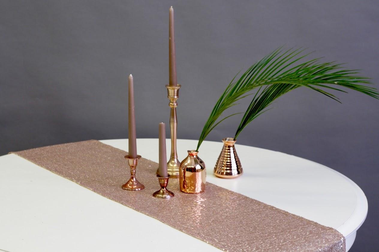 Vario (rose gold) spalvos stalo takelis su žvyneliais (Sequin) (Tks-1)