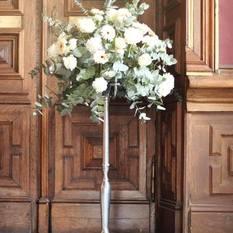 Aukšta sidabro spalvos penkiašakė žvakidė (Ž-5.1.)