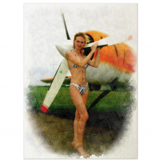 Air Wing Sisters Beauty  - Artwork On Large Natural Canvas